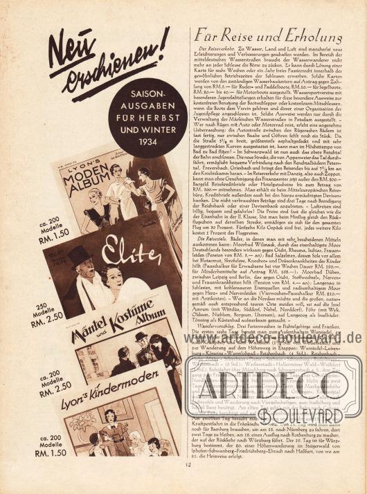 Artikel:O. V., Für Reise und Erholung.Werbung:Verlag Gustav Lyon, Saison Ausgaben für Herbst und Winter 1934 (Lyon's Moden Album, Elite, Mäntel und Kostüme Album, Lyon's Kindermoden).