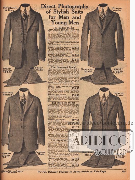 """""""Unmittelbare Fotografien von modischen Anzügen für Herren und junge Männer"""" (engl. """"Direct Photographs of Stylish Suits for Men and Young Men""""). Einreihige und exklusive Sakkoanzüge mit den Modellbezeichnungen Bellair, Beaumont, Business und Broadway. Die Anzüge sind aus Kaschmirwolle oder Woll-Kammgarn. Die besonders taillierten Modelle sind für junge Männer gedacht, während der nur mäßig taillierte Geschäftsanzug (Modell """"Business"""") für ältere Herren oder Männer mit konservativem Geschmack vorgesehen ist. Alle Ausführungen zeigen paspelierte Ränder und sind mit einer eingearbeiteten äußeren Brusttasche für eine Taschenuhr vorgesehen. Alpakawolle diente als Sakkofutter aller Modelle. Kragenlose Westen."""