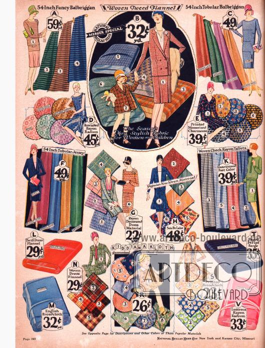 Günstige bedruckte Kleiderstoffe wie z.B. Balbriggan, Flanell, merzerisierte Charmeuse, Rayon-Taft und Rayon, sowie Jersey und Serge für Kostüme.