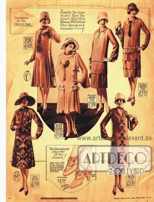 Die Fotografien zeigen geradlinige und Falten werfende Kleider mit verschiedenen Kragen- und Ärmelarten.