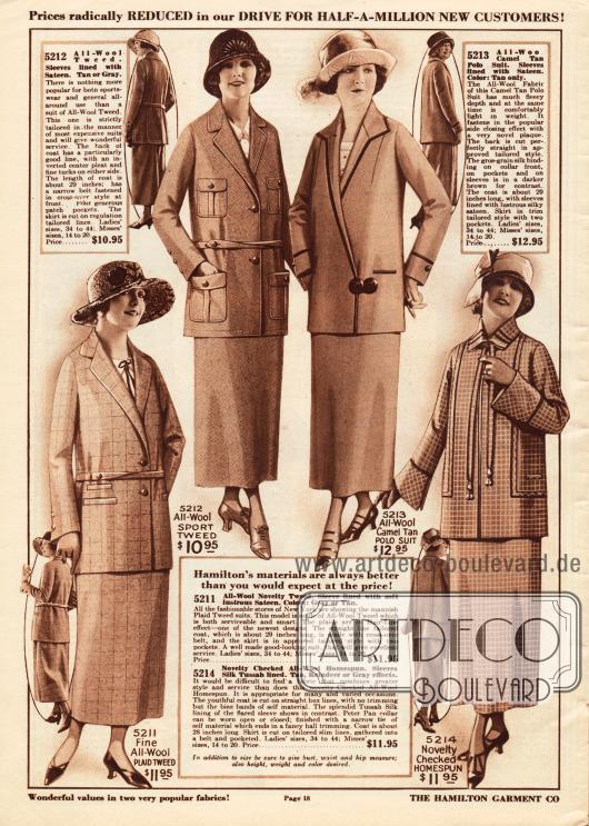 Günstige geschneiderte Kostüme aus Woll-Tweed, Kamelhaar Wolle und kariertem Woll-Homespun für Frauen.Zwei der Kostüme werden mit einem schmalen Gürtel getragen. Das zweite Kostüm ist besonders für den Sport geeignet. Die Kostümjacke zeigt mehrere praktische Taschen. Die Kostümjacke des dritten Modells ist mit einer Einfassborte aus schwarzer Seide versehen und wird seitlich verschlossen. Das vierte Modell zeigt glockig angeschnittene Ärmelaufschläge. Die Jacke wird nur über ein Band am Hals lose verschlossen.