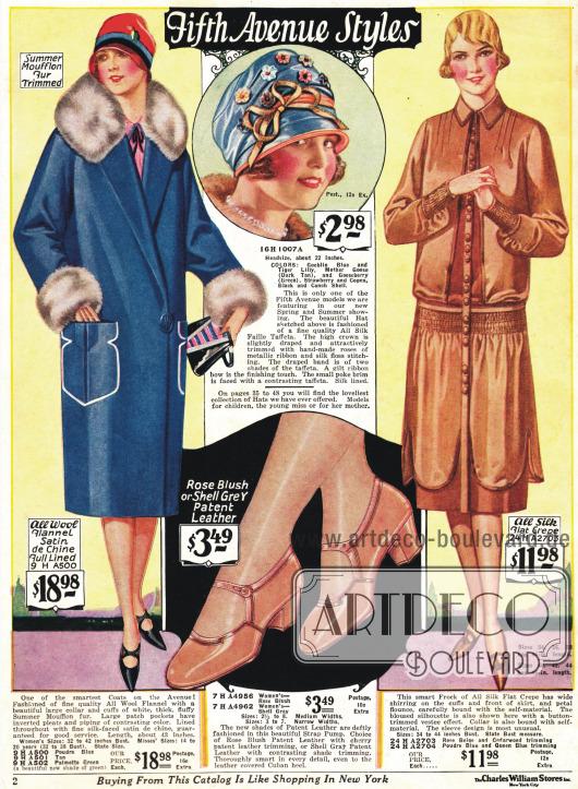 """""""Fifth Avenue Styles"""" - ein Mantel aus Flanell mit Mufflon Besatz, ein Kleid aus reinem Seiden Krepp, ein Hut aus reiner Seide und Taft sowie ein Paar Schuhe mit Schnalle aus Lackleder."""