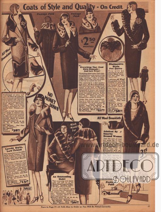 """""""Wintermäntel mit Stil und Qualität – Auf Kredit"""" (engl. """"Coats of Style and Quality – On Credit""""). Damenmäntel aus Woll-Breitgewebe, Woll-Velours oder """"Chami""""-Woll-Veloursleder. Die voluminösen Pelzverbrämungen sind aus auf Biber, Chinchilla oder Nerz gefärbtem Kaninchenfell, schwarzem Karakulfell, importiertem """"Mandel fur"""" (chinesisches Schafsfell) oder mandschurischem Wolfsfell hergestellt. Besonders extravagant wirkt der fast herzartig geformte Schalkragen oben links. Neben Schalkragen, kurzen """"Crush""""-Kragen und verbrämten Ärmelstulpen sind geometrische und ornamentale Paspeln besonders modisch."""