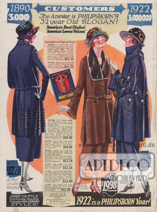 Kostüme für das stilsichere Fräulein oder die Dame mit mehr oder minder reichen Seidenstickereien aus Woll-Serge und Woll-Velours. Die beiden rechten Modelle zeigen glockige Unterärmel. Zudem besitzt die Jacke des mittleren Kostüms einen pelzbesetzten Bieberkragen.