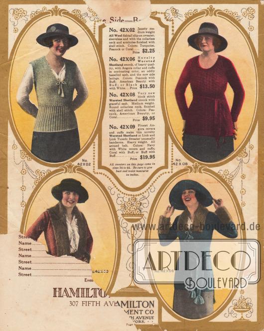 """Beschädigte Seite von der etwa ein-fünftel oben und unten links fehlt. Stickware für Damen aus reinen Wollgeweben, Shetland Wolle und gekämmter Shetland Wolle. Oben links ein ärmel- und kragenloser Pullover mit breitem Dehnbündchen und zierlicher Ausschnittschleife. Oben rechts ein gestrickter Smock (Pullover mit langem Schoß) mit passendem Gürtel. Unten links eine Strickjacke mit Gürtel sowie einem Smoking-Kragen (engl. """"Tuxedo"""") und Ärmelmanschetten, die mit langer Angora-Wolle besetzt sind. Unten rechts ein langer Smock-Pullover mit Kragen und Unterärmeln, die ebenfalls mit Angora-Wolle verarbeitet sind. Dazu breiter Strickgürtel mit Quasten."""