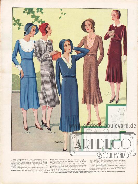 4202: Nachmittagskleid aus mittelblauem Wollgeorgette für Mädchen von 14 bis 16 Jahren. Die Hüftpasse ist mit flachen Volants garniert. Weiße Crêpe de Chine-Garnitur mit Rüschenabschluß. 4203: Übergangskleid aus kariertem Wollstoff. Das Kleid kann auch ohne Cape getragen werden. Für Kragen und Aufschläge ist Pikee verwendet. 4204: Backfischkleid aus Crêpe Bilitis. Der Faltenansatz gibt dem Rock die genügende Bewegungsfreiheit. Kleidsamer, bestickter Kragen. 4205: Praktisches Kleid aus genopptem Wollstoff für junge Mädchen. Ein Glockenvolant ergänzt den Rock. Am rosa Crêpe de Chine-Einsatz gelbe Valenciennesspitze. 4206: Jungmädchenkleid aus rotem Samt. Die Schoßtaille mit Bogenrand ist durch einen Gürtel zusammengehalten.