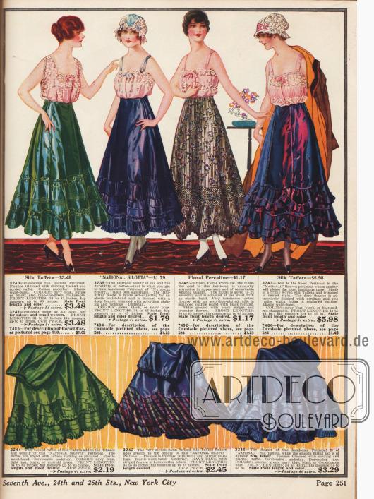 Petticoats (bauschig-weite Unterröcke) mit angenähten Rüschen aus Seide, Perkalin und Seiden-Taft.