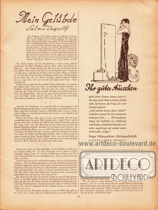 Artikel:Lagerlöf, Selma, Mein Gelübde.Werbung:Singer Nähmaschinen Aktiengesellschaft.