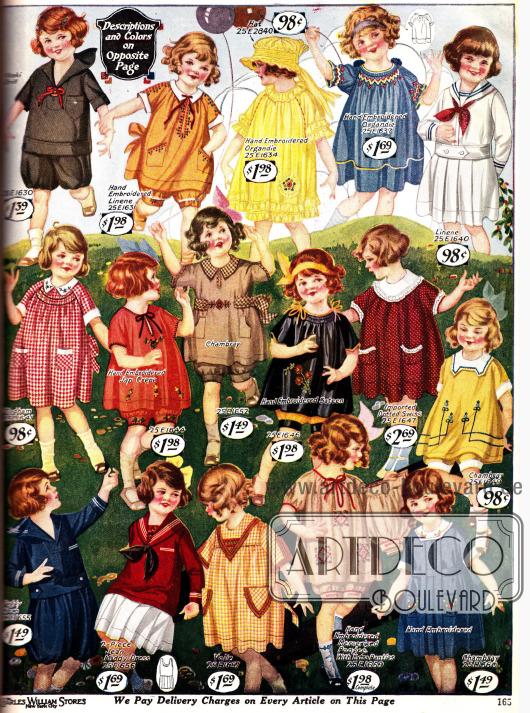 Farbenfrohe Kleidchen für Mädchen zwischen 2 bis 6 Jahren.