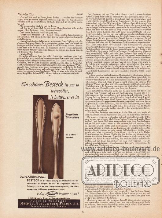 """Artikel: Erich, Karl, Ein lieber Gast. Skizze von Karl Erich.  Werbung: """"Ein schönes Besteck ist um so wertvoller, je haltbarer es ist. Das Platura-Patent"""", Bremer Silberwaren Fabrik A-G, Sebaldsbrück bei Bremen."""