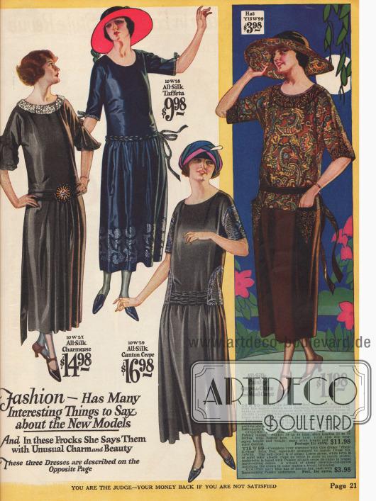 Damenkleider für den Sommer aus Seiden-Charmeuse, Seiden-Taft, Seiden Krepp und Crêpe de Chine mit kurzen Ärmeln für 9,98 bis 16,98 $.