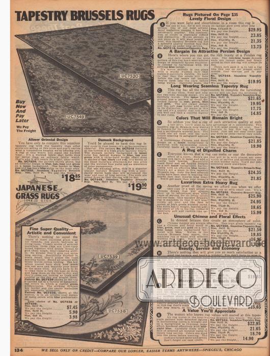 """""""Brüsseler Gobelinteppiche"""" (engl. """"Tapestry Brussels Rugs""""). Oben befinden sich zwei Teppiche im orientalischen Design oder mit Damast-Musterung. Unten befinden sich zwei Versionen eines kunstvollen japanischen Webteppichs (engl. Japanese Grass Rugs""""). Die Teppiche sind in den Größen 6 x 9 bis 9 x 12 ft (1,83 x 2,74 bis 2,74 x 3,66 m) erhältlich. Rechts sind die Beschreibungen der Teppiche auf der gegenüberliegenden Farbseite 135 zu finden."""