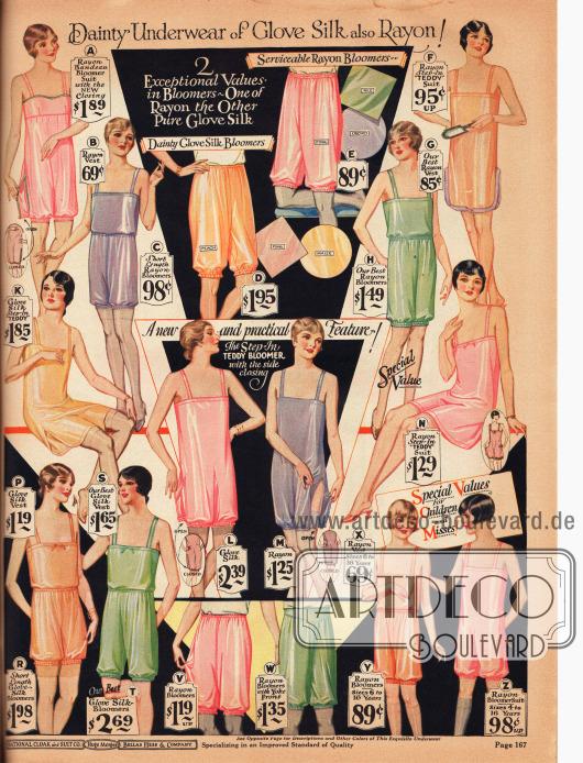 """Damenunterwäsche aus Seide und Rayon. Hier abgebildet sind einteilige Bustier-Pumphöschen Kombinationen (A), einteilige Hemd-Höschen Kombinationen, die in den USA """"Teddy Bloomers"""" oder """"Step-In Teddy"""" genannt wurden (F, K, L, M, N, Z), zweiteilige Hemd-Pumphöschen Kombinationen (B und C, G und H, P und R, S und T, X und Y) sowie Pumphöschen und Schlupfhöschen (D, E, V, W).Unten rechts wird auch Unterwäsche für 6 bis 16-jährige Mädchen präsentiert."""
