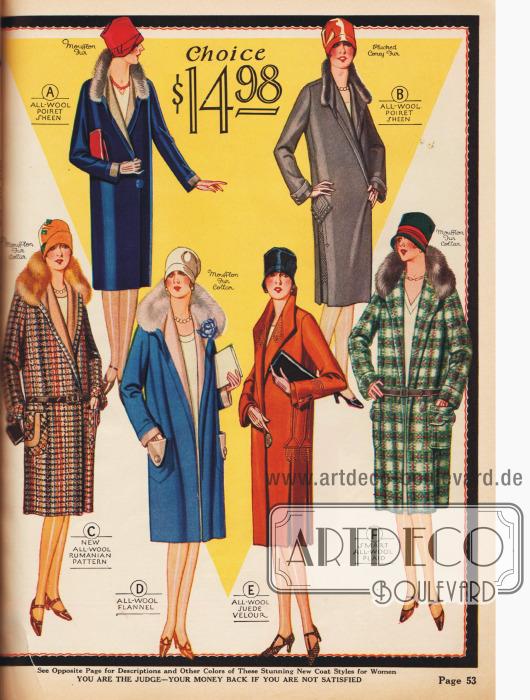 Frühjahrsmäntel mit Kragenpelzbesatz. Nur zwei Modelle werden mit Gürteln getragen.