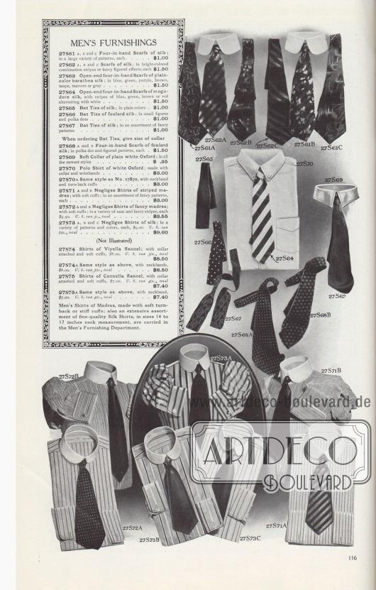 HERRENAUSSTATTUNGEN.  27S61: A, B und C, Four-in-Hand Krawatten aus Seide; in einer großen Vielfalt von Mustern, je… 1,00 $. 27S62: A-, B- und C-Krawatten aus Seide; in bunten Streifenkombinationen oder mit ausgefallenen Mustern, je… 1,50 $. 27S63: Four-in-Hand Krawatten mit offenem Ende aus einfarbiger Barathea Seide; in Blau, Grün, Violett, Braun, Taupe, Kastanienbraun oder Grau… 1,50 $. 27S64: Four-in-Hand Krawatten mit offenem Ende aus Mogodore Seide, mit blauen, grünen, braunen oder roten Streifen im Wechsel mit Weiß… 1,50 $. 27S65: Band-Krawatten aus Seide; in einfarbigen Farben… 1,00 $. 27S66: Band-Krawatten aus Foulard-Seide; in kleinen Mustern und Tupfen… 1,00 $. 27S67: Band-Krawatten aus Seide; in einer Auswahl von ausgefallenen Mustern… 1,00 $. Geben Sie bei der Bestellung von Band-Krawatten die Größe des Kragens an. 27S68: A und B, Four-in-Hand Krawatten aus Foulard-Seide; in Polka-Punkten und Figurenmustern, je… 1,50 $. 27S69: Weicher Kragen aus einfarbig weißem Oxford; in allen neuesten Ausführungen… 0,35 $. 27S70: Polohemd aus weißem Oxford; mit Kragen und Ärmelbündchen… 3,00 $. 27S70A: Gleicher Stil wie Nr. 27S70, mit Nackenband und umgeschlagenen Ärmelaufschlägen… 3,00 $. 27S71: A und B, Negligee-Hemden aus gestreiftem Madras; mit weichen Manschetten; in einer Auswahl von ausgefallenen Mustern, jeweils… 3,00 $. 27S72: A und B, Negligee-Hemden aus gestreiftem Madras; mit weichen Manschetten; in einer Vielzahl von ordentlichen und ausgefallenen Streifen, je 3,50 $. U.S.-Steuer 5c., gesamt… 3,55 $. 27S73: A, B und C, Negligee-Hemden aus Seide; in einer Vielzahl von Mustern und Farben, je 9,00 $. U.S.-Steuer 60c., gesamt… 9,60 $.  (Nicht illustriert) 27S74: Hemden aus Viyella Flanell; mit angesetztem Kragen und weichen Manschetten, 8,00 $. U.S.-Steuer 50c., gesamt… 8,50 $. 27S74A: Gleicher Stil wie oben, mit Halsbändern, 8,00 $. U.S.-Steuer 50c., gesamt… 8,50 $. 27S75: Hemden aus Connella Flanell, mit angesetztem Kragen und weichen Manschetten, 7,00 $. 