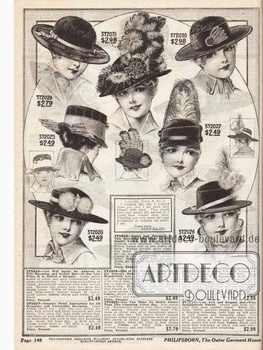 Damenhüte aus Samt und Satin mit mittelbreiten, schmalen als auch ohne Krempen. Die Hüte sind garniert mit Ripsbändern, Seidenbändern, kleinen und großen Schleifen, Pompons, Chenille, Fell und pompösen Straußenfedern.