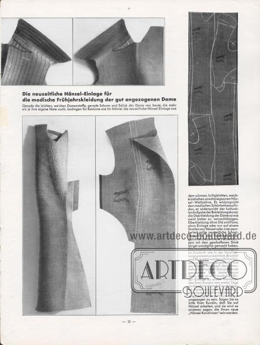 Artikel: O. V., Die neuzeitliche Hänsel-Einlage für die modische Frühjahrskleidung der gut angezogenen Dame. Fotografien zeigen den Zuschnitt und die Verarbeitung einer Hänsel-Einlage für einen Damenmantel. Fotos: Hänsel-Werke.