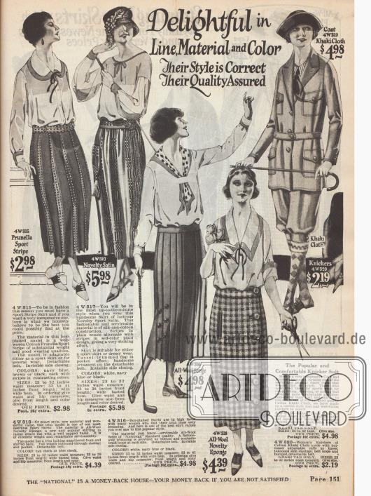 Sportröcke aus Baumwolle, Baumwoll-Seide und Wollstoffen. Auch ein Sportanzug für Frauen aus Kakistoff bestehend aus einer Jacke mit Gürtel und vier Taschen sowie einer Knickerbockerhose ist von dieser Seite bestellbar.