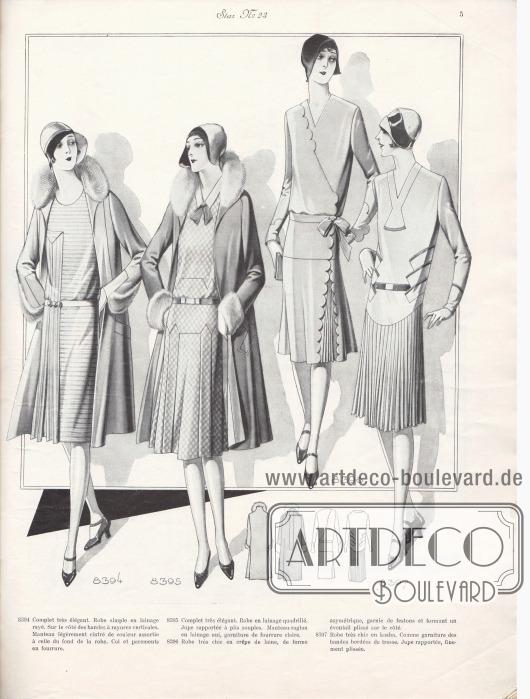 8394: Complet très élégant. Robe simple en lainage rayé. Sur le côté des bandes à rayures verticales. Manteau légèrement cintré de couleur assortie à celle du fond de la robe. Col et parements en fourrure. 8395: Complet très élégant. Robe en lainage quadrillé. Jupe rapportée à plis souple. Manteau-raglan en lainage uni, garniture de fourrure claire. 8396: Robe très chic en crêpe de laine, de forme asymétrique, garnie de festons et formant un éventail plissé sur le côté. 8397: Robe très chic en kasha. Comme garniture des bandes bordées de tresse. Jupe rapportée, finement plissée.