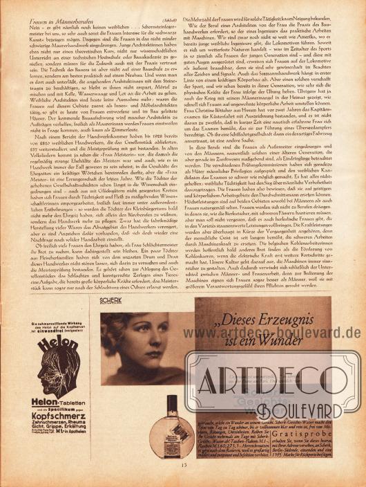Artikel: Hecht, Dr. Robert, Frauen in Männerberufen. Werbung: Helon-Tabletten gegen Kopfschmerz, Rheuma, Gicht, Grippe und Erkältungen; Scherk Gesichtswasser.