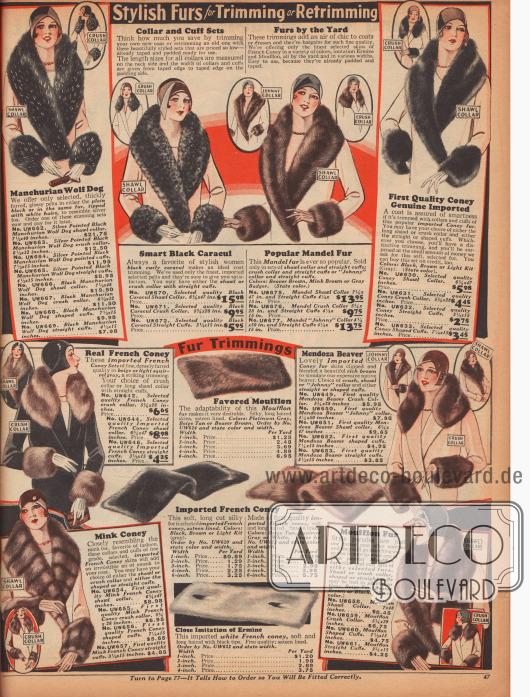 """Verschiedenste Pelzgarnituren zum Anbringen an selbst genähten Mänteln. Sämtliche Kragenpelze und Ärmelaufschläge sind aus mandschurischem Wolf, Karakulschaf, französischem Kaninchen, Bieber oder Mufflon (Wildschaf). Alle Kragenverbrämungen sind als """"crush collar"""" (kurz und bauschig), """"shawl collar"""" (lang und bauschig) oder """"johnny collar"""" (lang und platt) bestellbar."""