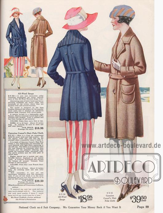 9X30: Kurzmantel für Damen aus marineblauem Woll-Serge für günstige 18,98 Dollar. Der Mantel präsentiert einen breiten Schalkragen, der oben reich bestickt und mit farbiger Tresse versehen ist. Die Stickerei reicht bis zum Revers. Im Rücken zwei tiefe eingearbeitete Falten mit aufgestickten Pfeilspitzen. Schmaler Bindegürtel aus Mantelstoff sowie schräg eingelassene Taschen. Mantel ohne Futter. 9X31: Hellbrauner Kamelhaarmantel für das Frühjahr mit leicht genoppter Oberfläche für 39,50 Dollar. Die aufgesetzten Taschen, die Taschenklappen, der herrenmäßig gearbeitete Kragen sowie die Säume sind gesteppt. Breite, durchgehende Falte im Rücken und Raglanärmel sowie interessant gearbeitete Manschetten.