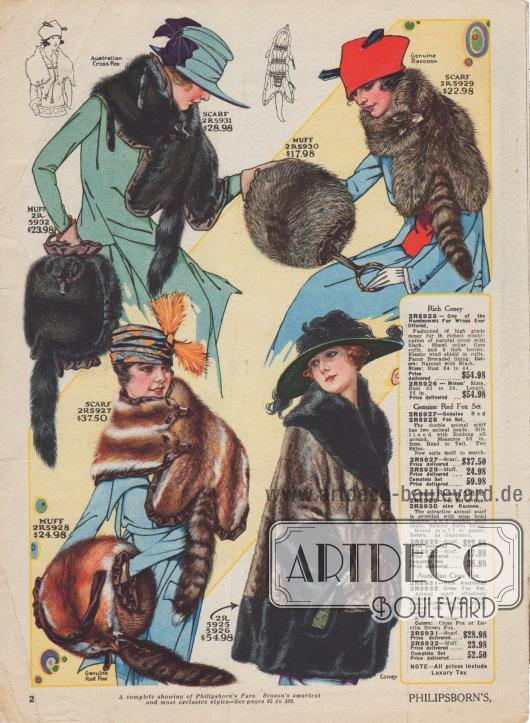 """Drei opulente Pelz-Sets (Pelzschals bzw. Pelzkolliers mit Muff) sowie eine großzügig weit geschnittene Pelzjacke. Die Pelzkragen und Muffe sind aus """"Australian Cross Fox"""" (Fell der Kreuzung von Silber- und Rotfuchs), Waschbär und Rotfuchs. Die Felle wurden komplett mit Kopf, Extremitäten und Schweifen verarbeitet, wobei die Augen durch Glasaugen ersetzt wurden. Die Pelzwaren sind mit Seide oder Satin gefüttert. Die Muffe zeigen melonen- oder zylindrische Formen. Schals mit Ketten und Verschlüssen sowie Muffe mit Handgriffen. Unten rechts eine Pelzjacke mit naturfarbenem und schwarzem Kaninchenfell kombiniert. Breiter Schalkragen, Manschetten und Saum. Fantasievoll gemusterter Brokat dient als Futterstoff."""
