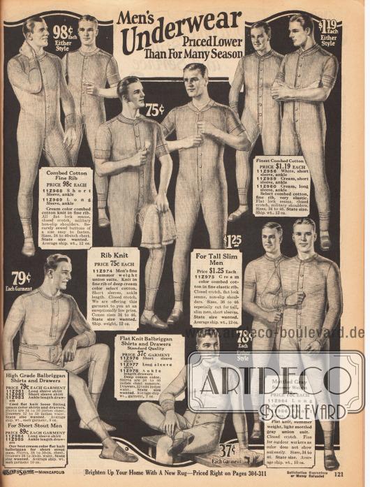 """""""Unterwäsche für Männer zu den günstigsten Preisen seit langem"""" (engl. """"Men's Underwear Priced Lower Than For Many Season"""").Ein- und zweiteilige Hemdhosen mit Knopfleiste in der Front und wahlweise langen oder kurzen Ärmeln und Beinen. Die Hemdhosen sind aus gekämmter Baumwolle und """"balbriggan cloth"""" (gewebtes, ungebleichtes Baumwollgewebe, ursprünglich aus Irland) in Feinripp oder Flachwebung."""