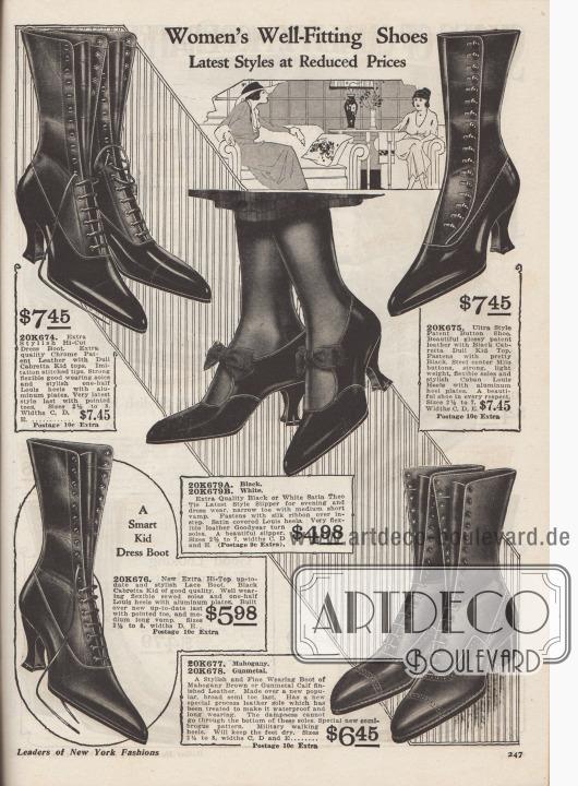 """""""Gut passende Damenschuhe. Neueste Modelle zu reduzierten Preisen"""" (engl. """"Women's Well-Fitting Shoes. Latest Styles at Reduced Prices""""). Vier hochgeschlossene Schnürstiefel-Paare aus Lackleder, Cabretta Chevreauleder (Ziegen- bzw. Schafsleder aus Südamerika oder Afrika) und Kalbsleder sowie ein Paar Schnallenschuhe (engl. """"Satin Theo Tie Lates Style Slipper"""") aus Satin. Die Schäfte der oberen beiden Stiefel sind aus zweierlei Material gefertigt, was einen besonderen farblichen Akzent erzielt. Modell 20K675 wird nicht geschnürt, sondern über seitliche Knöpfe geknöpft. Schuhe mit zierlichen und geschweiften Louis XIV Absätzen oder niedrigem militärischem Laufabsatz. Das Riemchenschuh-Paar für den Abend ist mit Schleifen ausgestattet und wahlweise in Weiß oder Schwarz erhältlich."""