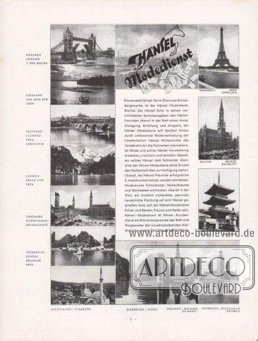 Eigenwerbung für den Hänsel-Modedienst für das Schneidergewerbe. Die Zeitschrift Hänsel-Echo erschien in verschiedenen Sprachausgaben und in vielen hier gezeigten europäischen Ländern.