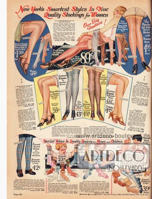 Oben befinden sich feine Seiden- und Rayonstrümpfe für Damen mit verstärkten Fersen in verschiedenen Farben und Schattierungen. Unten werden Strumpfwaren für Mädchen und junge Frauen aus Rayon-, Seiden- und Baumwollgarnen gezeigt, die für Sport, Spiel und Alltagskleidung gedacht sind.