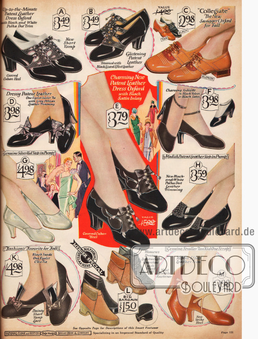 Hochgeschlossene Lederpumps aus Ziegen- und Lackleder. Die Absätze sind entweder kubanisch oder dem neuartigen spitzen Absatz. Oben rechts befinden sich Oxfords mit niedrigem Absatz. Unten mittig befinden sich Galoschen (Überschuhe) zum Schutz der empfindlichen Schuhe gegen Feuchtigkeit.