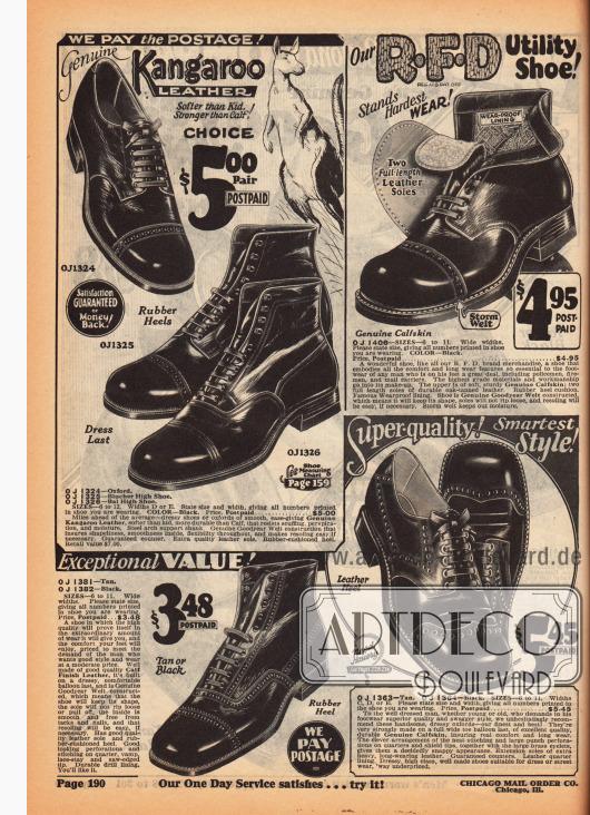 Robuste sowie elegante Schnürstiefeletten und Halbschuhe aus Känguruleder und Kalbsleder. Die Schuhe zeigen zurückhaltende Lochverzierungen und runde oder kantige Vorderkappen. Oben rechts wird ein besonders belastbares Modell speziell für die Bedürfnisse von Feuerwehrleuten, Polizisten und Briefzusteller beworben.