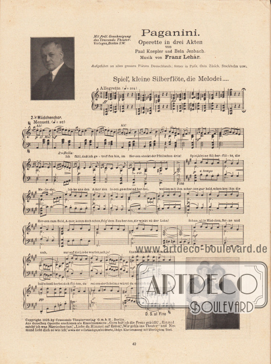 """Paganini Operette in drei Akten von Paul Knepler und Bela Jenbach. Musik von Franz Lehár (1870-1948). Der Titel des Liedes mit den abgebildeten Noten und dem dazugehörigen Text ist """"Spiel', kleine Silberflöte, die Melodei…""""."""