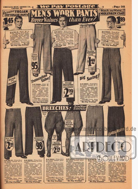"""Arbeitshosen, Breeches (Reithosen) und eine sommerlich leichte Arbeitshose (zweites Modell von rechts unten) für Männer. Die Arbeitshosen oben sind aus """"Cottonade"""", einem starken und widerstandfähigen Baumwollstoff, Khaki Gewebe, Woll-Kaschmir, Moleskin Cloth (Englischleder), Woll-Serge sowie Daytona (leichter Sommerstoff). Die beiden Breeches sind aus """"Whipcord Moleskin"""" und neben Sport auch für harte Arbeiten bestens geeignet."""