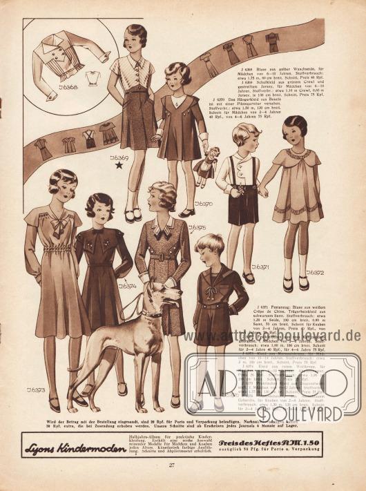 6368: Bluse aus gelber Waschseide, für Mädchen von 6 bis 10 Jahren. 6369: Schulkleid aus grünem Crewl und gestreiftem Jersey, für Mädchen von 6 bis 10 Jahren. 6370: Das Hängerkleid aus Bouclé ist mit einer Pikeegarnitur versehen. Schnitt für Mädchen von 2 bis 6 Jahren. 6371: Festanzug: Bluse aus weißem Crêpe de Chine, Trägerbeinkleid aus schwarzem Samt. Schnitt für Knaben von 2 bis 6 Jahren. 6372: Festkleidchen aus rosa Kunstseiden-Georgette, f. Mädchen von 2 bis 6 Jahren. 6373: Kleid aus Marocain Krepp, für Mädchen von 10 bis 14 Jahren. 6374: Kleid aus rotem Wollkrepp, für Mädchen von 6 bis 10 Jahren. 6375: Praktisches Kleid aus Diagonalwollstoff, f. Mädchen von 8 bis 12 Jahren. 6376: Matrosenanzug aus mittelblauem Gabardine, für Knaben von 2 bis 6 Jahren.