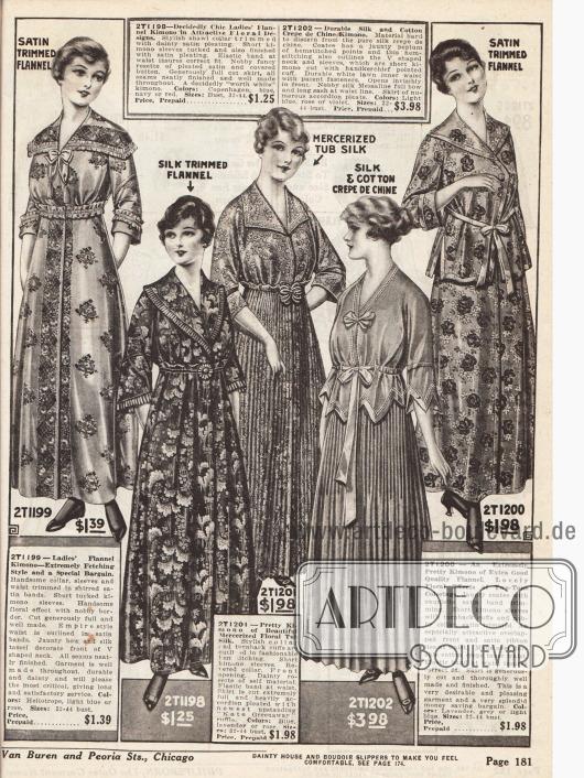 Kimonos, Baderoben und Bademäntel für Damen aus geblümtem oder gemustertem Flanell, merzerisierter Seide und Seiden-Baumwoll Crêpe de Chine - teilweise in plissierter Ausführung.