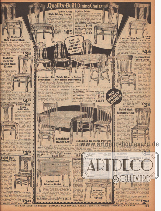 """""""Hochwertig verarbeitete Esszimmer-Stühle"""" (engl. """"Quality-Built Dining Chairs""""). Die hier offerierten Stühle sind aus Eichenhölzern hergestellt und größtenteils mit gedrechselten oder geschweiften Beinen versehen. Manche Stühle zeigen gepolsterte oder ausgefräste Sitzflächen zum bequemeren Sitzen. Die Sitzmöbel sind im frühen amerikanischen Kolonialstil oder Queen Anne Stil (1702 bis 1714) hergestellt. In der Mitte befinden sich außerdem Frühstückstische und Esszimmertische sowie ein kleines Sideboard (Anrichtetische, hier """"Buffet"""" genannt) und ein offener, kleiner Porzellan-Schrank."""
