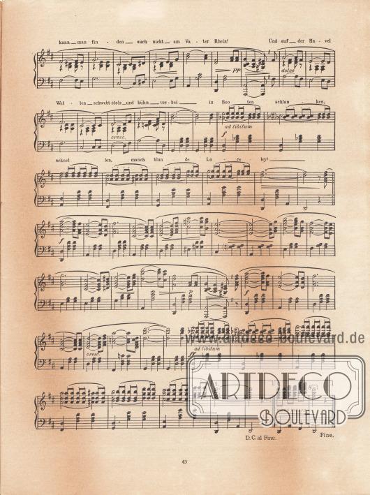 """Musikbeilage der Modenschau mit der Melodie """"Das Havel-Lied. Boston und Lied"""". Text und Musik stammen vom Komponisten Günther Joachim (Lebensdaten unbekannt)."""
