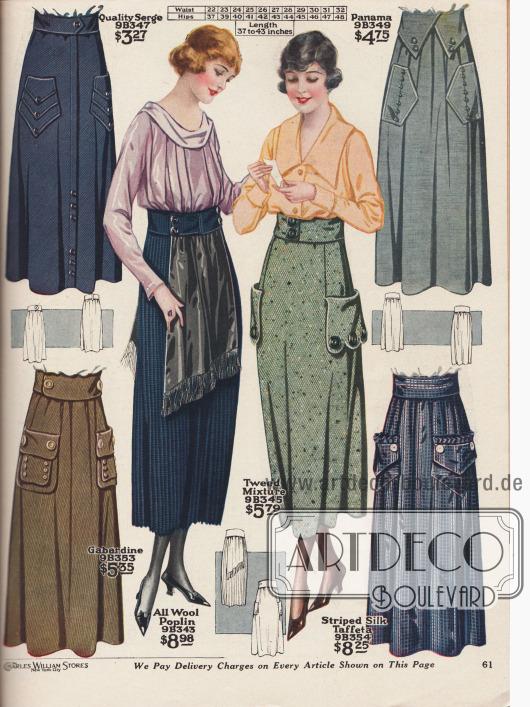 Damenröcke aus Baumwoll-Serge, Panama (Woll- und Baumwollmischgewebe), Woll-Baumwoll-Gabardine, reinem Woll-Poplin, Woll- und Baumwoll-Tweed und gestreiftem Seiden-Taft. Auffallend sind die großen, sehr abwechslungsreich gearbeiteten Taschen und Zierknöpfe sowie die breiten Gürtel. Herausstechend ist der linke Rock in der Mitte aus plissiertem Material, der vorn und hinten Schürzenteile mit Fransen aus schwarzem Samt präsentiert.