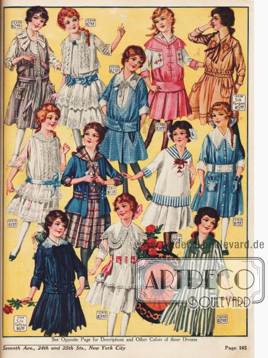 Kleidchen für 6 bis 14-jährige Mädchen, wahlweise mit Volants und Spitze oder einteilige Kleidchen z.B. mit Jäckchen-Effekt.