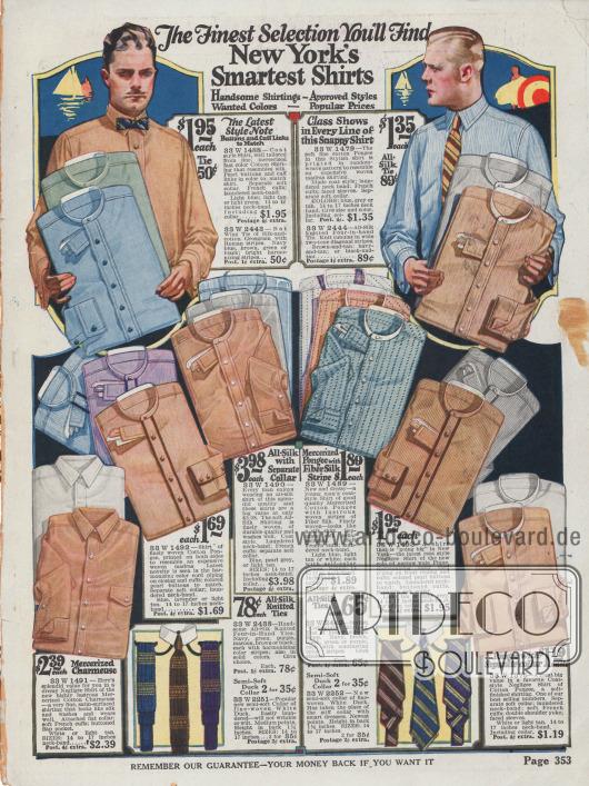 Anzughemden aus merzerisierter Baumwolle und Charmeuse, Seide in hellen Braun-, Blau- und Grüntönen. Auch Krawatten finden sich unten im Bild.