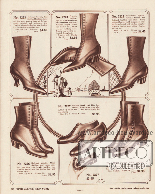 """Schnürstiefel, Stiefeletten sowie ein Oxford-Modell für junge Frauen und Damen. Die Schuhe sind aus Havanna braunem oder schwarzem Chevreauleder (Ziegenleder) und """"vici"""" Chevreauleder. Bei zwei Modellen bestehen die Schäfte aus hellerem Stoff. Ein Modell (7228) wird über Druckknöpfe geschlossen. Die Schuhe sind mit leichten Lochlinienverzierungen perforiert. Die oberen Modelle zeigen die 1919 sehr moderne spitze Kappenform, während die unteren Modelle eher abgerundete Kappen zeigen. Niedrige und militärische Absätze dominieren die Auswahl. Ein Modell mit Louis XIV Absätzen (7223)."""