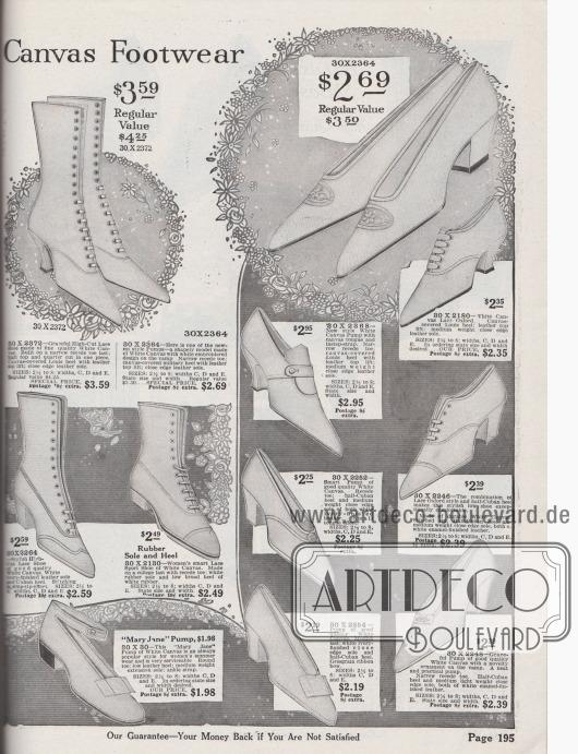 """""""Weiße Damenschuhe aus Kanevas"""" (engl. """"[Women's White] Canvas Footwear""""). Preisgünstige Damenschuhe aus leicht zu reinigendem Kanevas. Unter den Schuhmodellen befinden sich Schnürstiefel, Pumps, Oxfords, Pumps mit Zunge bzw. Lasche und ein """"Mary Jane"""" Pump mit Knöchelschnalle. Die Schuhe präsentieren entweder geschwungene Louis XIV Absätze, breite, dicke Militärabsätze oder flache Laufabsätze. Die zurückhaltend aufgemachten Schuhe zeigen nur spärliches Dekor wie Ziernähte oder flache Schleifen. Ein Paar Pumps oben rechts mit Stickerei-Motiv auf den Kappen."""