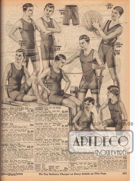 """Schwarze, marineblaue, graue oder khakifarbene Badeanzüge aus einfacher, matt glänzender, merzerisierter oder gerippter Baumwolle und eine Badehaube für Herren, junge Männer und Jungen. Einteilige Badeanzüge (hier engl. """"California One-Piece Bathing Suits"""" genannt), die nur zweiteilig erscheinen. Unter den langen Trikots zeigen sich an der Taille angenähte Badehosen. Passend zu den Badeanzügen wird auch ein Gürtel aus Kanevas angeboten. Oben mittig auch eine Badehose."""