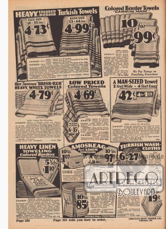 """""""Schwere Frottierhandtücher mit farbiger Kante"""" (engl. """"Heavy, Colored Border Turkish Towels""""). Haushalts- und Badtextilien. Handtücher unterschiedlicher Größe, große Badehandtücher, Topflappen und Geschirrtücher aus frottiertem Baumwollstoff (Frottee), reinem Leinen oder echtem Amoskeag Leinen (Stoff der Amoskeag Manufacturing Co. in Manchester, New Hampshire, USA) und Meterware für Geschirrhandtücher. Angebote mit vier oder sechs Teilen zum Preis von Einem. Unten links Meterware im Gebinde mit Preisen pro fünf oder zehn Yard Länge (ca. 4,57 m bzw. 9,14 m)."""