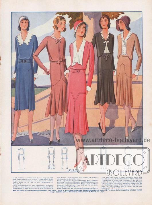 """Kleider für junge Mädchen (""""Jungmädchenkleider"""") aus Veloutine, Woll-Crêpe de Chine, Woll-Georgette, Seidenmarocainkrepp und Wollrips. Weiße Crêpe de Chine Garnituren zieren die Ausschnitte und Ärmel. Seitliche Faltengruppen (erstes Kleid) und eine Gegenfalte im Glockenansatz (drittes Kleid) erweitern die Röcke.Bolerokleider sind 1930 auch für junge Damen besonders beliebt (letzte zwei Modelle)."""