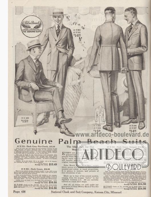 """""""Echte Palm Beach Anzüge – Der ideale Anzug für warmes Wetter"""" (engl. """"Genuine Palm Beach Suits – The Ideal Suit for Hot Weather Wear""""). Vier Anzüge im flotten Stil bis hin zum Geschäfts- bzw. Businessanzug aus echtem Palm Beach Gewebe, das eine besonders leichte Qualität aufweist, porös und sehr Luftdurchlässig ist.  41X505: Einreihiger Geschäftsanzug aus kleinkariertem, dunkelgrauem Palm Beach Stoff für Herren jeden Alters. 41X501 & 41X502: Schmissiger doppelreihiger Sommeranzug in Dunkelgrün mit eng stehenden Knöpfen für junge Männer. Breite, bogig steigende Revers betonen den Oberkörper und die Schultern. Taillenabnäher sowie große aufgesetzte Taschen. 41X503 & 41X504: Einreihiger, dunkelgrüner Sakkoanzug mit dreiviertellangem Gürtel im Rücken und steigenden Revers für junge Männer. 41X506: Einreihiger, grauer Anzug im glatten, schnörkellosen Stil für Herren, die die Extreme meiden. Sakko mit drei aufgesetzten, großen Taschen."""