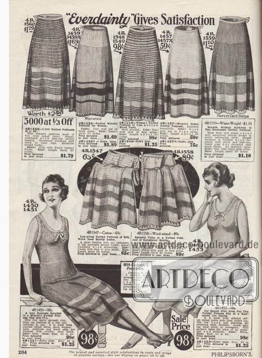 """""""'Everdainty' gewährt Zufriedenheit"""" (engl. """"'Everdainty' Gives Satisfaction""""). Trikotage-Unterwäsche für Damen. Warme Strickunterröcke (Petticoats) aus Kammgarn oder merzerisierten Woll- und Baumwollgarnen der US-Marke Everdainty für Frauen. Unten werden zwei Prinzessunterröcke (lange Strickunterhemden) angeboten, die kurze Hemdchen und Stoffpetticoats ersetzen. Die Säume der Unterröcke sind umhäkelt."""