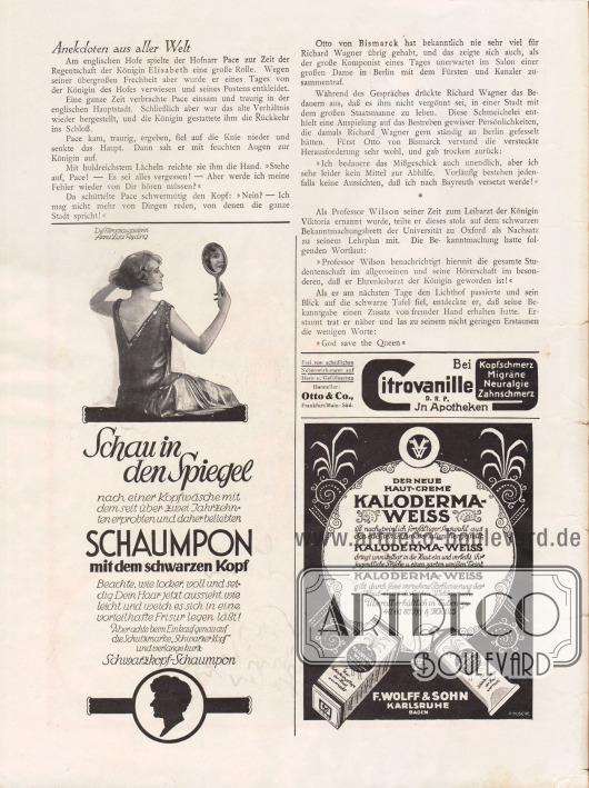 """Artikel: O. V., Anekdoten aus aller Welt. Werbung: """"Schau in den Spiegel"""", Schaumpon mit dem schwarzen Kopf, Schwarzkopf-Shampoo mit einem Bild der schwedischen Filmschauspielerin Anna Lisa Ryding (1903-1982); Bei Kopfschmerz, Migräne, Neuralgie, Zahnschmerz Citrovanille D. R. P. in Apotheken, Hersteller Otto & Co., Frankfurt/Main-Süd; Haut-Creme Kaloderma-Weiss, F. Wolff & Sohn, Karlsruhe (Baden). Zeichnung/Illustration: A. Kusche."""